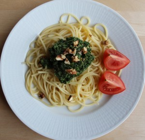Spagetti med grön sås