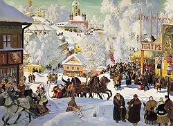 Maslenitsa målat av den ryske konstnären Boris Kustodiev (1878-1927) Foto från Wikimedia Commons