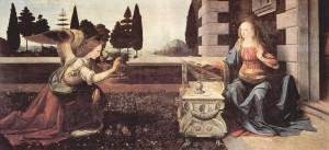 Bebådelsen, målning av Leonardo da Vinci