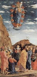 Andrea Mantegnas målning föreställande hur Jesus bärs av änglar. Tempera på trä, målad omkring 1461. Bild från Wikipedia