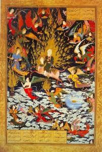 Målning som föreställer profeten Muhammeds himmelsfärd, Miraj. Muhammeds ansikte är inte avbildat. Bild från Wikipedia