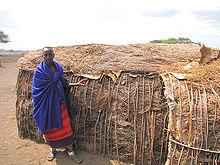 Massajhydda täckt av koskit som isolering mot regn. Foto från Wikipedia