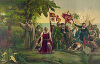 Christopher Columbus landstiger i Amerika