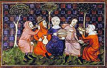 Bönder delar en enkel måltid. Bilden är från 1400-talet