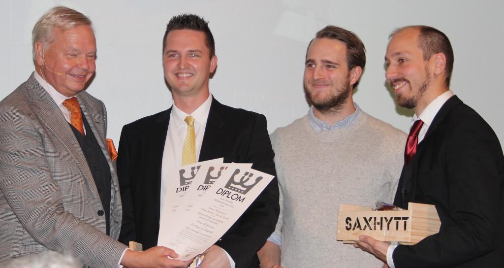 Vinnarna i kategorin Kantinmåltider Tomas Wallentinus, Tobias Bentley och Henrik Forsell