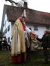 Traditionellt klädd Nikolaus i byn Jexhof i Oberbayern. Foto från Wikipedia