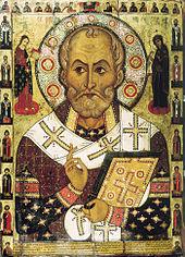 Biskop Nikolaus på en rysk ikon av Aleksa Petrov från 1294. Foto från Wikipedia