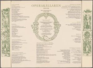Operakällarens meny 1963 - med Glassufflé Nobis bland desserterna