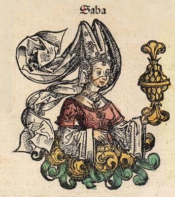 Drottningen av Saba. Träsnitt från 1400-talet.