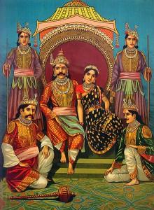 Prinsessan Draupadi och bröderna Pandavas