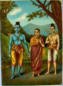 Guden Rama, hans hustru Sita och hans bror_Lakshmana