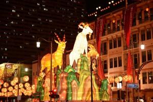Kinesiska nyårsdekorationer i Singapore