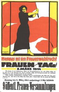 Affisch från 1914 på kvinnodagen med krav på kvinnlig rösträtt.