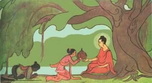 sujata4 den blivande Buddah får mjölkriset av Sujata