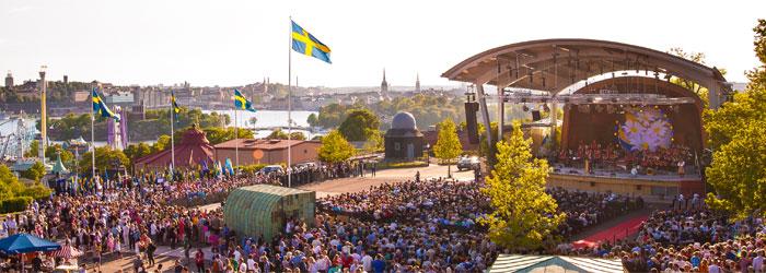 Nationaldagsfirande på Skansen. Bilden lånad från Skansen.se