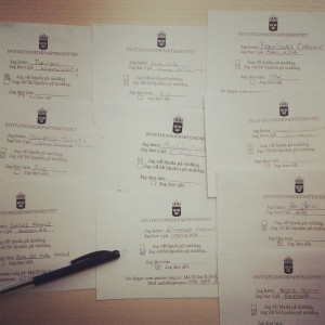 Invitationsdepartementets intresseanmälan till middag