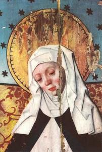 Den heliga Birgitta på ett altarskåp från 1400-talet i Salems kyrka