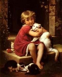 """En kram är rena hälsokuren. Målning av Léon Bazille Perrault """"Son favori"""""""