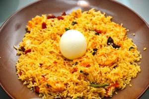 Biryani med ris, här även med ett kokt ägg. Foto: Jyothis