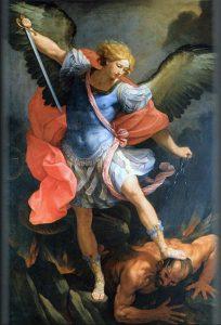 Ärkeängeln Mikael, målning av Guido Reni (Santa Maria della Concezione, Rom)