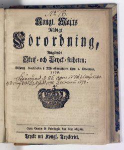 Tryckfrihetsförordningen från 1766